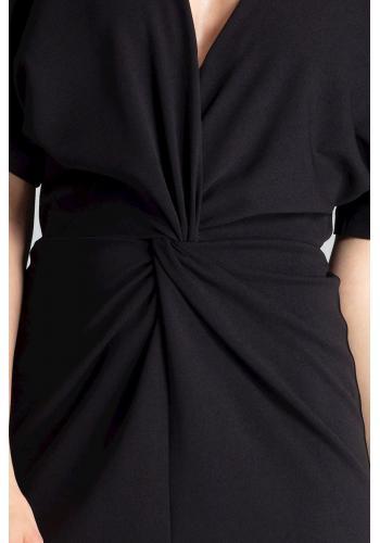 Černé elegantní šaty s kimono rukávy pro dámy