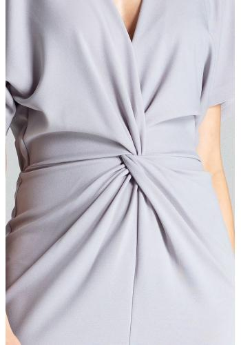 Dámské elegantní šaty s kimono rukávy v šedé barvě