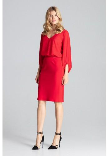 Tužková dámská sukně červené barvy s brokátovými pásy