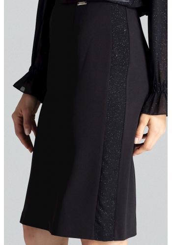 Dámská tužková sukně s brokátovými pásy v černé barvě