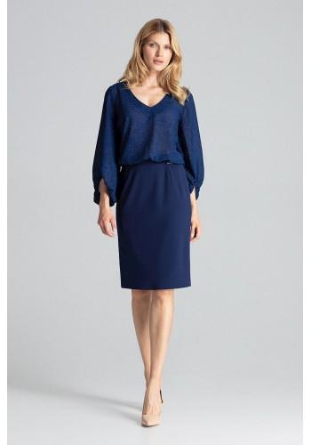 Tmavě modrá tužková sukně s brokátovými pásy pro dámy