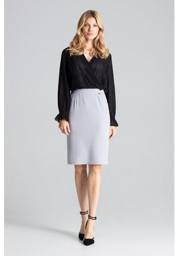 Tužková dámská sukně šedé barvy s brokátovými pásy