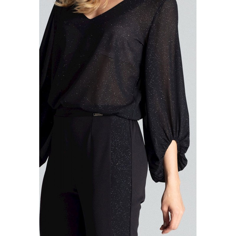 Černé elegantní kalhoty s brokátovými pásy pro dámy
