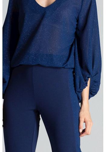 Elegantní dámské kalhoty tmavě modré barvy s brokátovými pásy