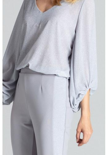 Dámské elegantní kalhoty s brokátovými pásy v šedé barvě