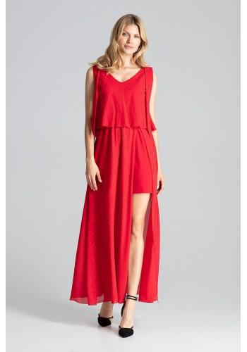 Červené třpytivé šaty s vázáním na ramenou pro dámy