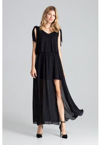 Třpytivé dámské šaty černé barvy s vázáním na ramenou