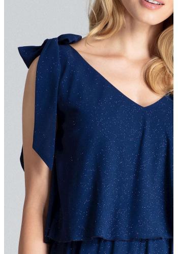 Dámské třpytivé šaty s vázáním na ramenou v tmavě modré barvě