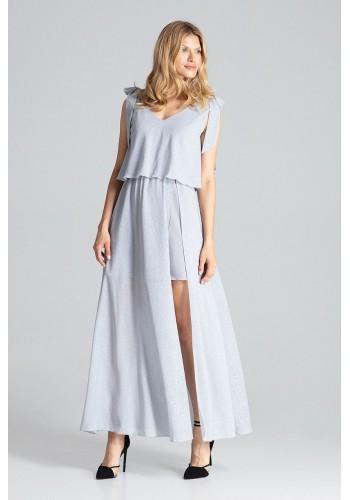Šedé třpytivé šaty s vázáním na ramenou pro dámy
