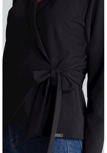 Černá volná halenka s vázáním v pase pro dámy