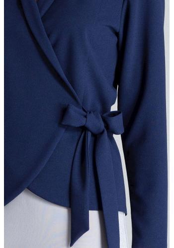 Dámská volná halenka s vázáním v pase v tmavě modré barvě