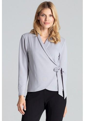 Volná dámská halenka šedé barvy s vázáním v pase