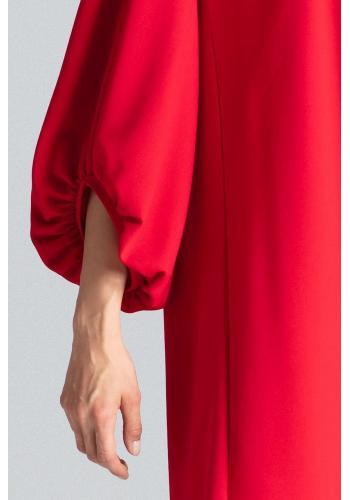 Lichoběžníkové dámské šaty červené barvy s nafouklými rukávy