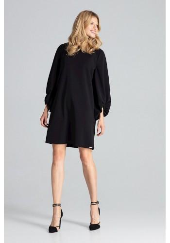 Dámské lichoběžníkové šaty s nafouklými rukávy v černé barvě