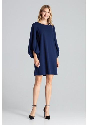 Tmavě modré lichoběžníkové šaty s nafouklými rukávy pro dámy