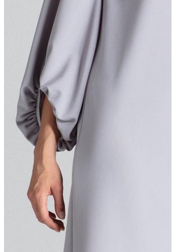 Lichoběžníkové dámské šaty šedé barvy s nafouklými rukávy