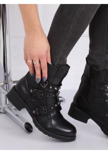 Vojenské dámské boty černé barvy s vybíjením