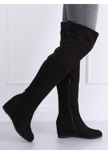 Černé semišové kozačky nad kolena na platformě pro dámy