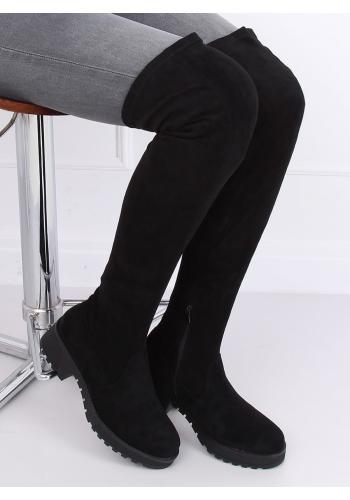 Černé semišové kozačky nad kolena pro dámy