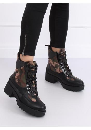 Stylové dámské boty černé barvy s maskáčovým motivem