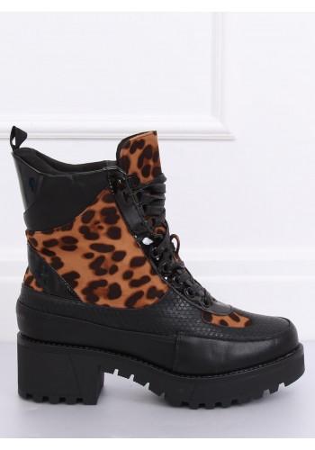 Dámské stylové boty s leopardím vzorem v černé barvě