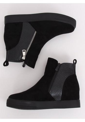 Stylové dámské boty černé barvy na skrytém podpatku