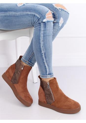 Dámské stylové boty na skrytém podpatku v hnědé barvě