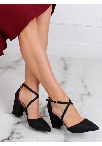 Černé třpytivé sandály na stabilním podpatku pro dámy