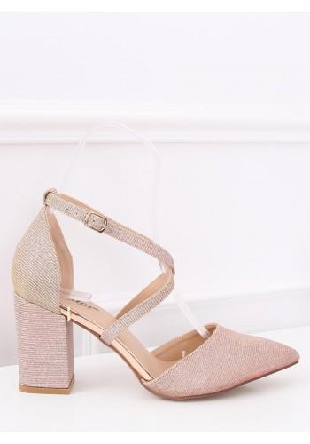 Dámské třpytivé sandály na stabilním podpatku v růžové barvě
