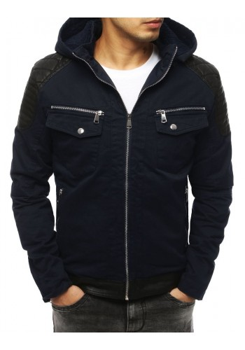 Tmavě modrá zimní bunda s vložkami z ekokůže pro pány