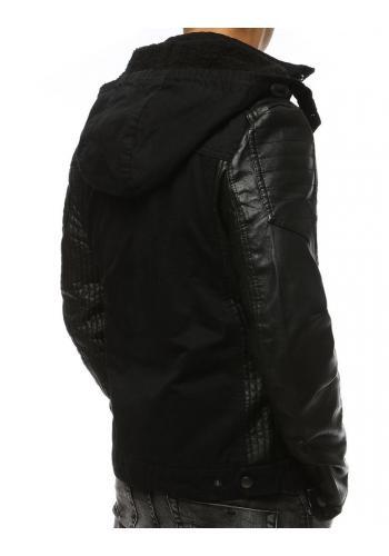 Zimní pánská bunda černé barvy s koženými rukávy