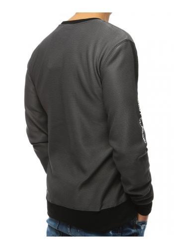 Pánská stylová mikina s potiskem v tmavě šedé barvě