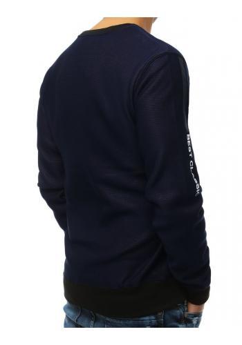 Tmavě modrá stylová mikina s potiskem pro pány