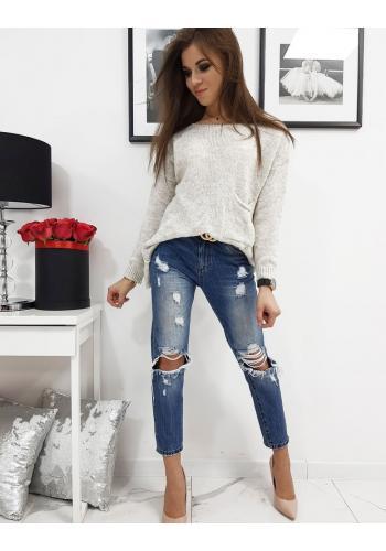 Světlo béžový módní svetr s kapsou vpředu pro dámy