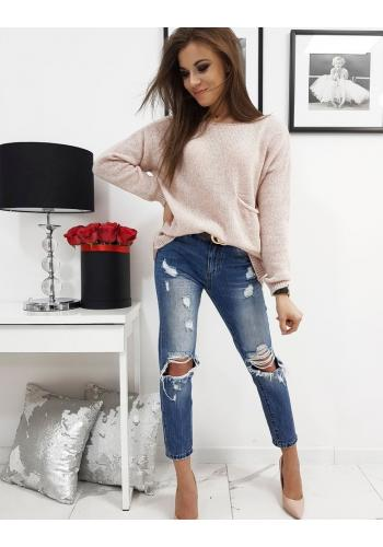 Módní dámský svetr růžové barvy s kapsou vpředu