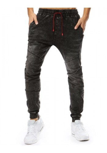 Módní pánské Joggery černé barvy s riflovým vzhledem