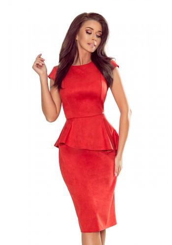 Dámské semišové šaty s asymetrickým volánem v červené barvě