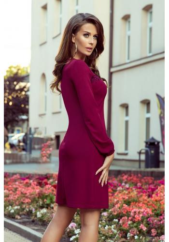 Bordové lichoběžníkové šaty s krajkou pro dámy