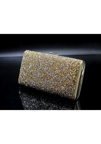 Dámská společenská kabelka s brokátem ve zlaté barvě