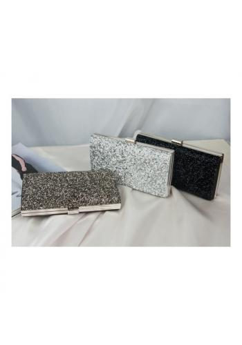 Společenská dámská kabelka stříbrné barvy s brokátem