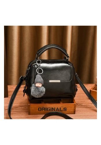 Dámská módní kabelka s přívěskem na klíče v černé barvě