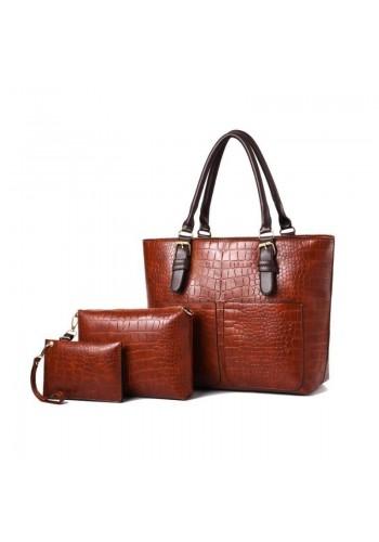 Dámská módní kabelka 3 v 1 v hnědé barvě