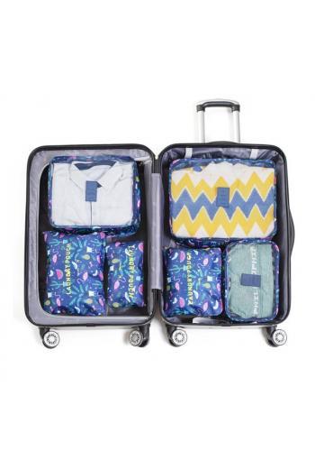 Sestava 6 organizérů do kufru modré barvy se vzorem