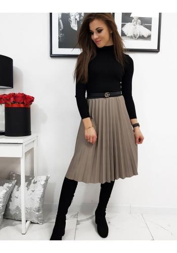 Dámská plisovaná sukně pod kolena v kapučínové barvě