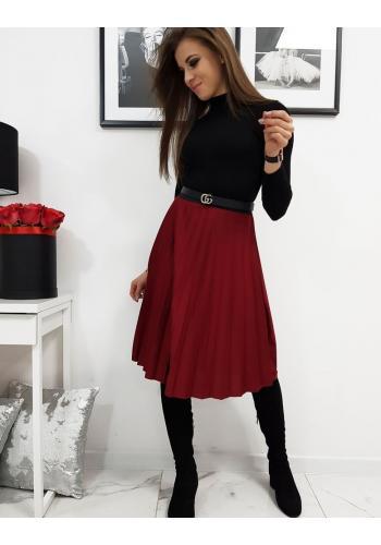 Plisovaná dámská sukně bordové barvy pod kolena