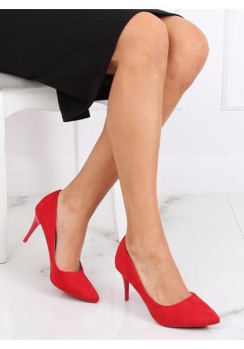 Semišové dámské lodičky červené barvy na štíhlém podpatku