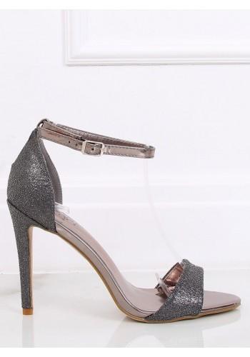 Třpytivé dámské sandály tmavě šedé barvy na štíhlém podpatku