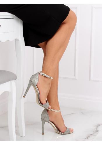 Zlaté třpytivé sandály na štíhlém podpatku pro dámy