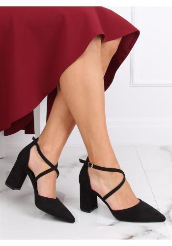 Dámské semišové sandály na širokém podpatku v černé barvě