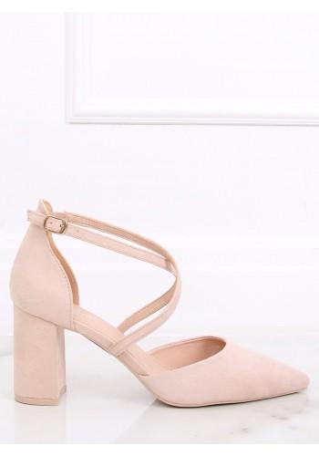 Semišové dámské sandály béžové barvy na širokém podpatku
